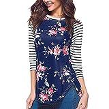 Yvelands Damen Langarmshirts Freizeit-Streifen-Druck-T-Shirt Bluse Hülse mit DREI Vierteln beiläufige Oberteile(CN-L,Blau)