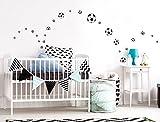 Wandtattoo Kinderzimmer Wandsticker Set Fußbälle Stück zum Kleben Wandtattoo Wa