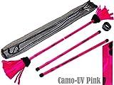 COMMANDO Profi Flowerstick Set (UV-Pink) mit 2mm Silikon-Körper und Handstäbe! Flames N Games Flower stick Set mit super starke Fiberglaskern Ideal Für Kinder und Erwachsene.