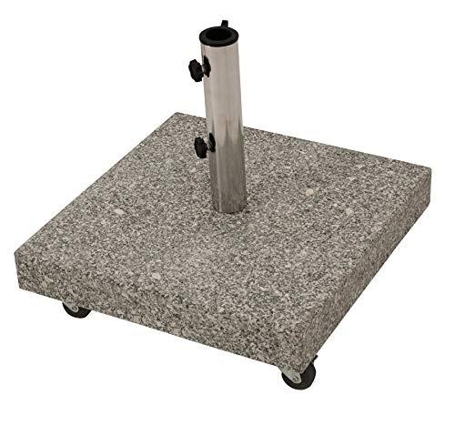 Schirmständer aus massivem Granit 50kg, mit vier gebremsten Rollen, grau -