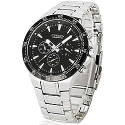 ShoppeWatch reloj de Hombre deportivos de LUJO-Acero INOXIDABLE-Herren Armband Armbanduhr, cr8063slbk