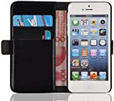 iPhone SE, iPhone 5/5s Lederhülle | JAMMYLIZARD Handyhülle [ Luxuriöse Tasche Series ] Ledertasche Flip Case Cover Hülle mit Kartenfach Leder Schutzhülle, Schwarz