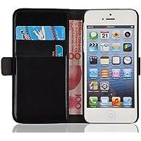 iPhone SE, iPhone 5 / 5s Lederhülle | JAMMYLIZARD Handyhülle [ Luxuriöse Tasche Series ] Ledertasche Flip Case Cover Hülle mit Kartenfach Leder Schutzhülle, Schwarz