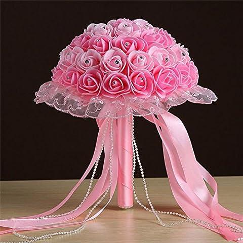 Unechte Blumen, Frashing Crystal Roses Pearl Brautjungfer Hochzeitsstrauß Braut Künstliche Seidenblumen Ribbon Perlen Spitze Hand mit Blumen Haus Garten Party Blumenschmuck (B)