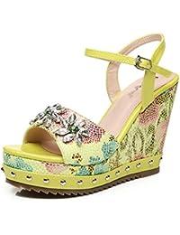 Sandalias De Tacón Alto para Mujer Zapatos con Cuña Alpargatas De Cuña Zapatos De Moda para