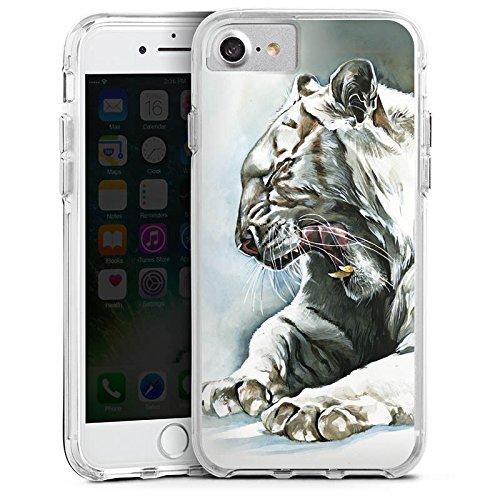Apple iPhone 6 Bumper Hülle Bumper Case Glitzer Hülle White Tiger Zeichnung Bumper Case transparent