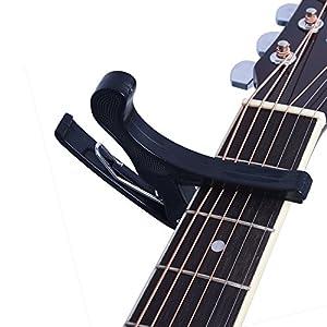 Juarez JRZ250 One Handed Trigger Guitar Metal Capo Quick Change For Ukulele, Electric And Acoustic Guitars, Black