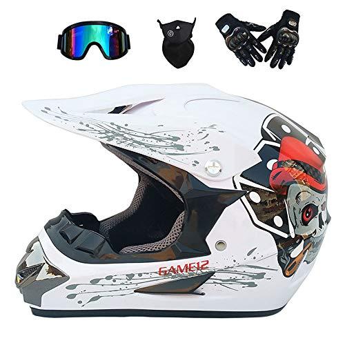 GWJ Adult Off Road Helm Dot Dirt Bike Motocross ATV Helm/Brille/Maske/Handschuhe,Whiteskull,M