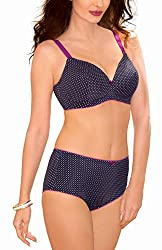 Amante Padded Nonwired Full Cup Bra (BDLY04BLDD36_Black-White Dots_36DD)