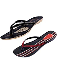 Indistar Women Comfortable Flip Flop House Slipper And Sandal-Black/Red/Black- Pack Of 2 Pairs