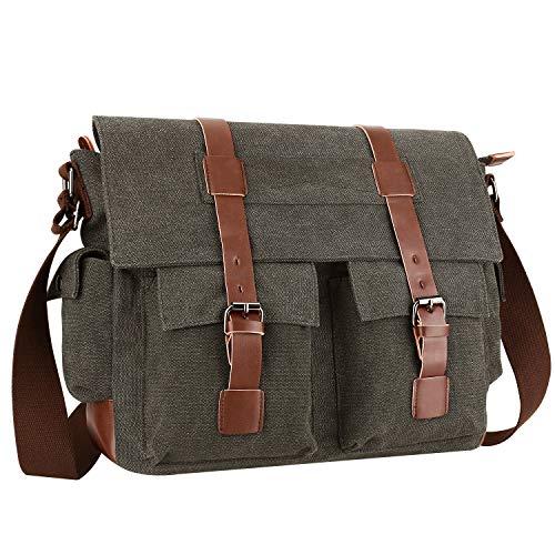 Lifeasy Umhängetasche Herren Vintage Segeltuch Herrentasche Laptoptasche für 15,6 Zoll Laptop, Schultertasche Kuriertasche Messenger Bag