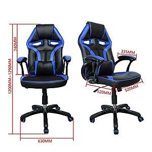 51Rt6GBPNzL. SS300  - HG-Office-Silla-giratoria-Silla-para-juegos-Premium-Comfort-Apoyabrazos-acolchados-Silla-de-carreras-Capacidad-de-carga-200-kg-Altura-ajustable-negro-azul