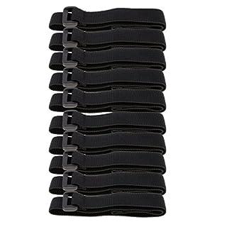 Baoblaze 10 Stück Klett Kabelbinder 40cm schwarz mit Schnalle Klettband Klettkabelbinder Klettverschluss Klettbinder