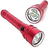 E-Plaza 3600LM 3 x CREE XM-L T6 LED Wasserdicht Tauchen Taschenlampe Wasserdichter Unterwasser Submarine-Licht-Lampe Taschenlampe 18650 Gewitterleuchte-Fackel-Licht - Rote