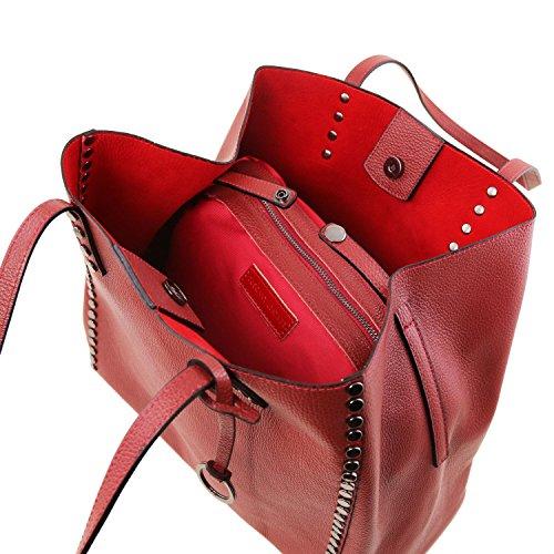 Tuscany Leather TL Bag Borsa shopper in pelle morbida Talpa scuro Rosso