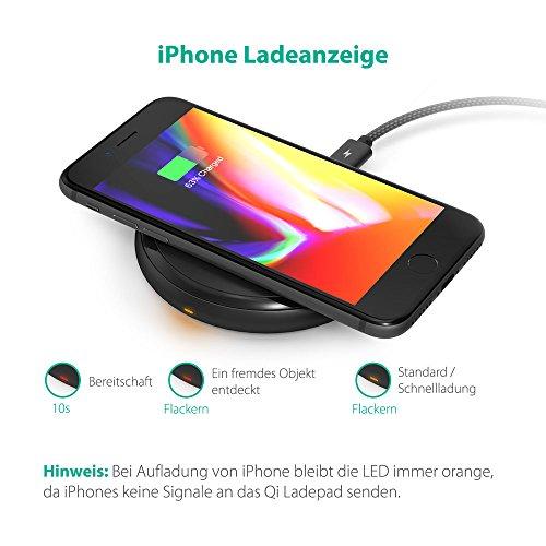 51Rt7AULnsL - [Amazon] RAVPower Qi kabelloses Ladegerät für iPhone X/8/8 Plus für nur 29,99€ statt 39,99€