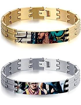 JewelryWe Schmuck Herren Armband mit persönlicher FOTOGRAVUR | Bild & Text Wunsch-gravur, Glänzend Poliert Gliederarmband...