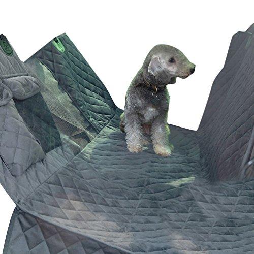 Dexinx Hund Autositzbezug, Wasserdicht und Kratzfest & Rutschfeste Rücksitzbezug, Hund Reise Hängematte mit Sitzanker Grau 137 * 147cm