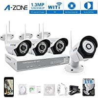 A-ZONE 4 Kanals WLAN Überwachungskamera Set Kabellos Videoüberwachung Überwachungssystem wlan 960P NVR 4 x 960P 1.3 Megapixel IP Sicherheit Überwachungskameras außen wlan Funk ,mit 1TB Festplatte