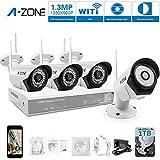 A-Zone 4 Kanals WLAN Überwachungskamera Set Kabellos Videoüberwachung Überwachungssystem WLAN 960P NVR 4 x 960P 1.3 Megapixel IP Sicherheit Überwachungskamera Außen, mit Festplatte 1TB