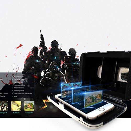 HueLiv RIEM3 3D VR Brille, Google Cardboard Virtuelle Realität für 3.5''-6 '' Smartphones für 3D Filme und Spiele (Weiß)