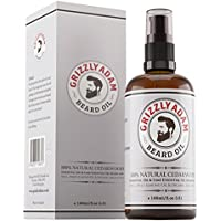 Beard Oil 100ml - Premium Beard Conditioning Oil by Grizzly Adam - A Beard Moisturiser for Men Specially Formulated in the UK from 100% Natural Cedarwood - Soothes Rashes & Irritation - Anti Bacterial