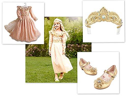 Disney Store Girls Maleficent Aurora Deluxe Costume Dress Tiara Shoes Size 9/10