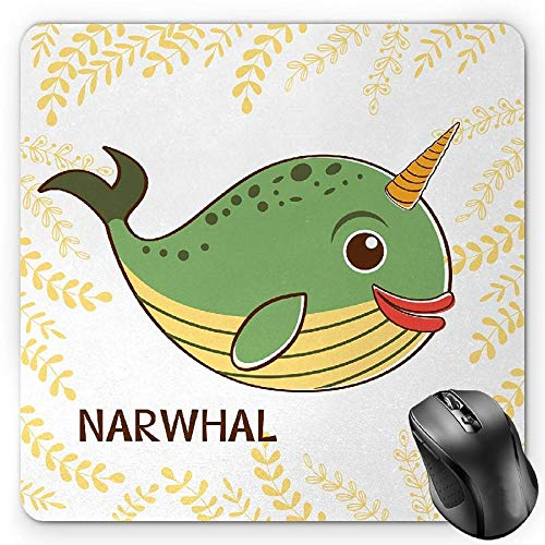 BGLKCS Narwhal Alfombrilla de Ratón, Aquatic Mammal with Colorful Composition Foliage Background Cartoon, Standard Size Rectangle Non-Slip Rubber Mousepad, Fern Green Orange Yellow
