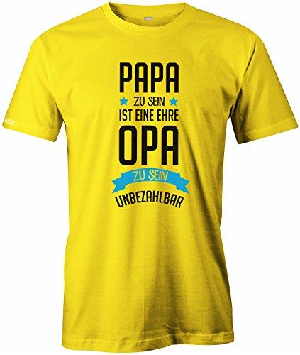 Papa zu sein ist eine Ehre - Opa zu sein unbezahlbar - Herren T-Shirt Gelb