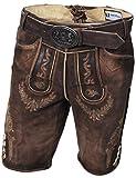 Kurze Herren Lederhose, mit Gürtel, Echtes Wildbockleder, Trachten-Lederhose, Braun, Alle Größen (50)