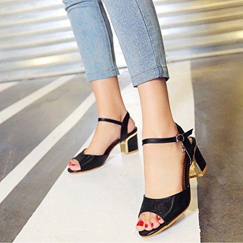 COOLCEPT Femmes Mode Boucle Glitter Moyen Chunky Heel Robe Sandales Noir