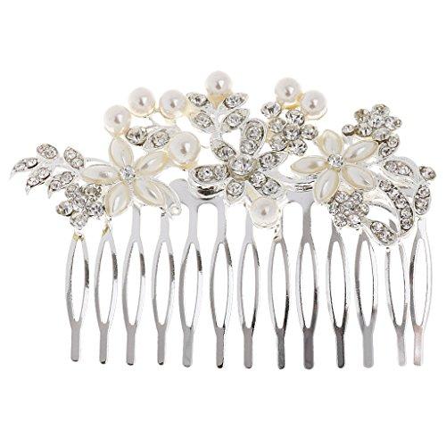 MagiDeal Cheveux Peigne Décoratif de Mariée Motif Fleur en Cristal Strass et Faux Perles
