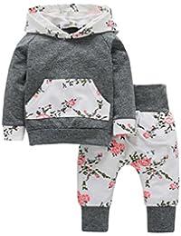 ღ UOMOGO Royal Neonato Bambina Manica Lunghe Cappuccio Vestiti cappotto  floreale Top Felpa   Pantaloni Due Pezzi Suit 6-24 Mesi 1c7d4e7bcef