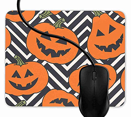 Mauspad Halloween Kürbis Muster Chevron Rutschfeste Gummi Basis Mouse pad, Gaming mauspad für Laptop, Computer 1F3703 (Kürbis-muster Für Halloween)