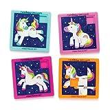 Baker Ross Puzles deslizantes de Unicornios de Colores (Paquete de 4) para Bolsas de cotillón Infantiles