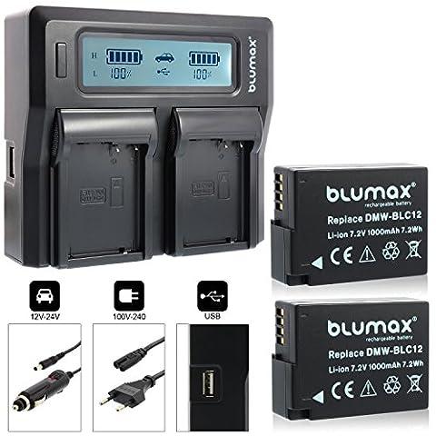 2x Blumax Akku für Panasonic DMW-BLC12 / DMW-BLC12-E 1000mAh + Doppelladegerät DMW-BLC12-E Dual Charger   passend zu Lumix DMC: G5   G6   GX8   G70   G81   GH2   FZ200   FZ300   FZ1000   FZ2000   Leica V-Lux 4