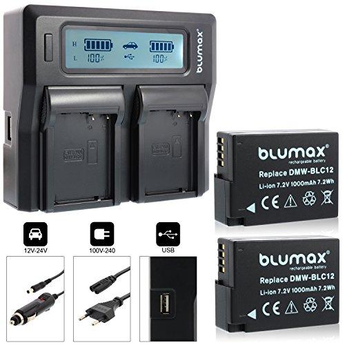 2x Blumax Akku ersetzt Panasonic DMW-BLC12e 1000mAh + Doppelladegerät DMW-BLC12-E Dual Charger | passend zu Lumix DMC: G5 | G6 | GX8 | G70 | G81 | GH2 | FZ200 | FZ300 | FZ1000 | FZ2000 | Leica V-Lux 4