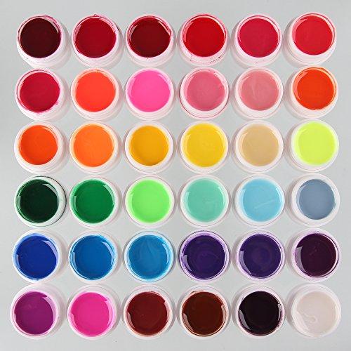 Beauty7 Lot de 36 Pot de Nacré Glitter Brillant UV Gel Couverture Pour Décoration Ongle Nail Art Manucure