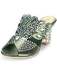 unicrystal Zapatos de parte trasera abierta sandalias Mules Diamante. Tacón para mujer