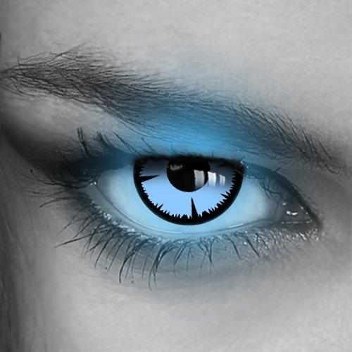 Kontaktlinsen farbig UV Neon-Target - (GRÃœN,BLAU,PINK,GELB,ORANGE) - Crazy Fun Halloween Party Fasching Karneval Disco (Blau/Blue)