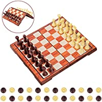 iBaseToy Magnetic Chess Set, 2 in 1 Chess and Draughts Set Chess Checkers Game Set Folding Chess Board for Adults and Kids – 36 x 31cm