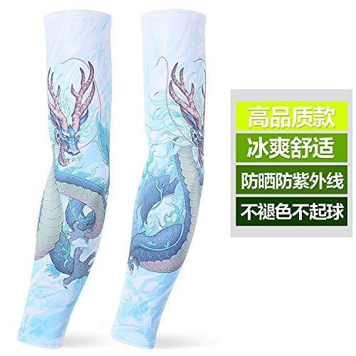 JinRui-Sport Tattoo Sleeve Sonnenschutz Manschette männliche Ice Silk Handschuhe Tattoo Armschutz, alle Meter, blaues Wasser Drachen 2 - Wasser Meter Kostüm