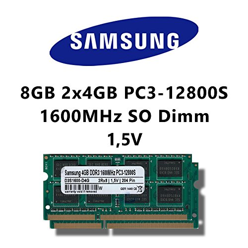 Samsung 8GB (2x 4GB) Dual-Channel Kit DDR3 1600MHz (PC3 12800S) SO Dimm Notebook Laptop Arbeitsspeicher RAM Memory (8 Gb Ddr3-1600-notebook-ram)