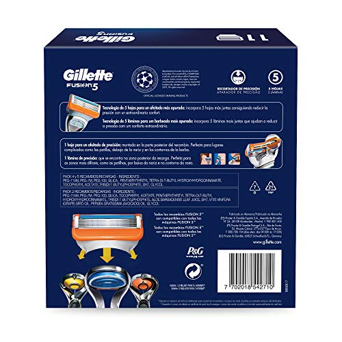 Gillette Fusion5 -  Recambios de Maquinilla de Afeitar,  Pack Champions League con 11 unidades