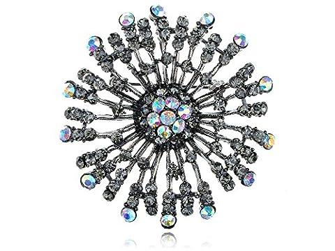 Alilang Dandelion Flower Aurora Borealis Crystal Rhinestone Necklace Pendant Pin