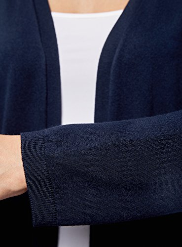 oodji Ultra Damen Verschlussloser Cardigan mit Seitentaschen Blau (7900N)