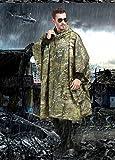 [ Wasserdichter Regenponcho mit Kapuze ] Festival Unisex Regenponcho Regenmantel Poncho Regencape Militär Camping Bergsteigen Army Schutz Regenbekleidung Regen Umhang Camouflage-iisport® - 4