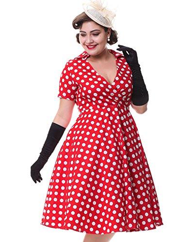 ZAFUL Robe Vintage années 50 's Style Audrey Hepburn Rockabilly Swing Robe de soirée cocktaile Robe de Bal à Manches Courtes Robe Pois Rouge