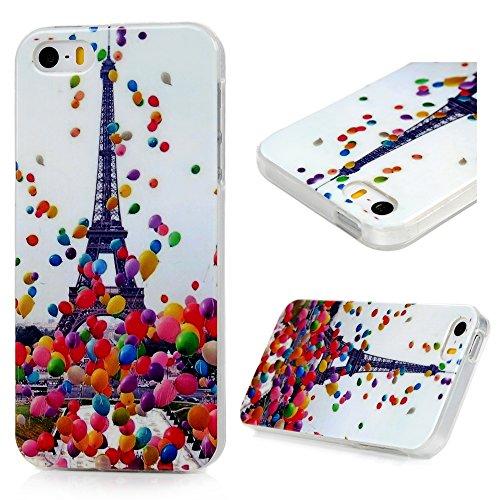 iPhone SE 5 5S Funda Carcasa ,YOKIRIN Funda Cubierta de Suave Silicona de ultra delgado de TPU Carcasa Trasera Para iPhone SE 5 5S - Torre