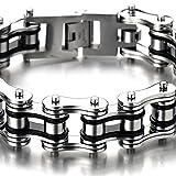 22CM Top-Qualität Herren-Armband Edelstahl Fahrradkette Motorradkette Silber Schwarz Zwei Töne Hochglanz Poliert - 3
